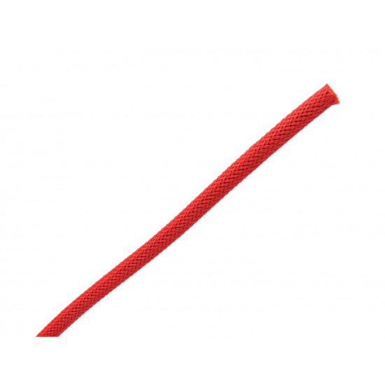 Braided Cable Sleeve PET - 6mm Expandable - Red