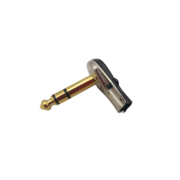 TRS Right Angled Stereo Pancake Plugs 1/4 Gold tip and nickel body