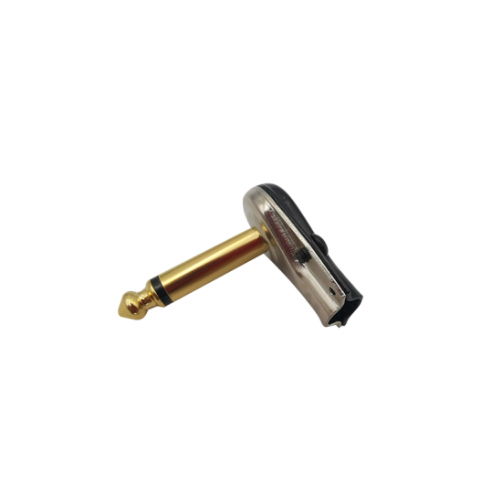Dragon Switch | TS Right Angled Mono Pancake Plugs 1/4  Gold tip and nickel body