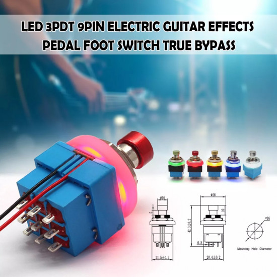 Dragon Switch | 3PDT With LED Latching Solder Lug Footswitch RGBYW